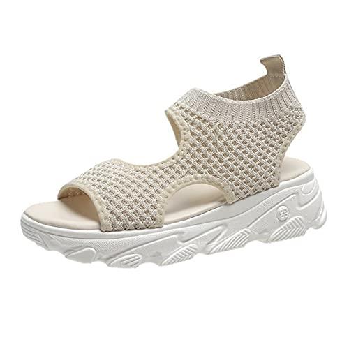 Sandalias de mujer Zapatos de verano al aire libre de malla Plataforma de cuña Zapatos de playa de ocio de playa clásicos Sandalias romanas deportivas de trabajo