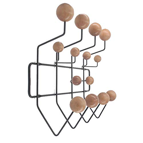 SHISEDECO Classic Hang it All Coat Rack, Mid Century Modern Wall Mounted Coat Hooks with Painted Solid Wooden Walnut Balls Wood Color Coat Hanger (Black Frame Natural)