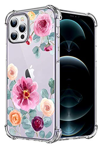 HEYORUN Flower Case Compatible for iPhone 12 Pro Max 6.7 Inches 2020, Pink Flowers Girls and Women Floral Back Cover, Cute Flowers Transparent Soft TPU Bumper Shockproof Protective Case