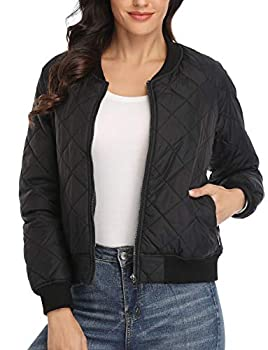 Dilgul Womens Quilted Jacket Lightweight Long Sleeves Zip Up Raglan Bomber Jacket Padded Jacket Coat with Pockets
