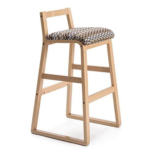 Rollsnownow Coussin d'ondulation de l'eau en bois cadre en bois moderne Home Bar chaise Tabouret haut en bois solide rétro Bar Chair haut tabouret (Size : High 77cm)