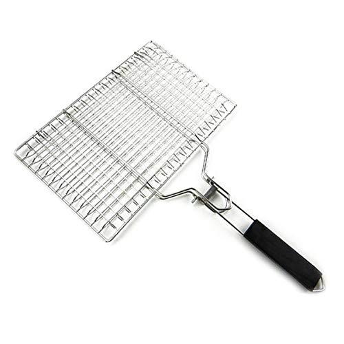 Yuehuam Grillgrillkorb Tragbarer Grillkorb Grillkochgeschirr aus Edelstahl mit Abnehmbarem Glattem Holzgriff für Fischgarnelen-Gemüsesteak