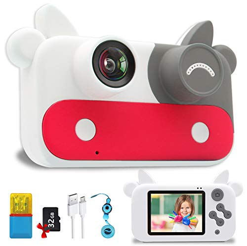 WENKOUBAN Camera for Kids,Best Gifts HD Digital Video Record Cameras with 15 Photo Frames,9 Filters and 5 Games for Toddler, Portable Toy for 3-12 Year Old with 32GB SD Card,Card Reader(Red)