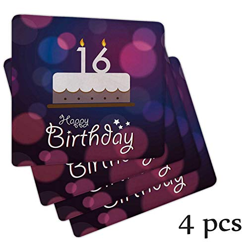 Atokker 16th Birthday DChair Cushionrations,Seat Cushion Kids Recliner Cake Candle Anniversary of Birth Best Wishes Young Chair Cushion Glider Rocker Repchair Seat Cushionsment Cushions 4 Pack