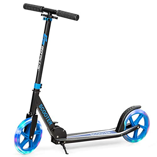GYMAX 2 Wheel Kick Scooter, Foldable Scooters with Adjustable Height & Light Wheel, Stunt Sport Scooter for Kids Teens or Adult (Blue)