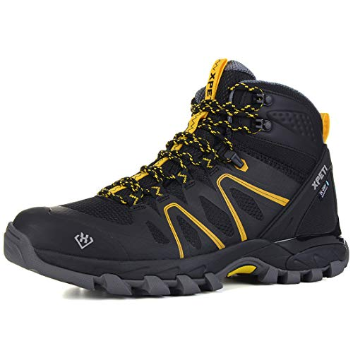 XPETI Men's Wildfire Mid Waterproof Hiking Boot Black/Yellow 9.5