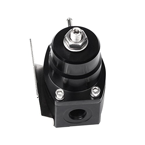 Universal Adjustable EFI Aluminum Fuel Pressure Regulator Kit with 0-100 psi Gauge AN6-6AN Fuel Line Hose Fittings (Black)
