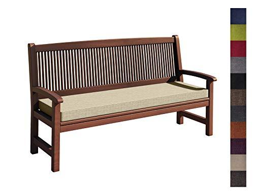sunnypillow Coussin pour Banc de Jardin 120 x 30 x 5 cm plusieures Tailles et Couleurs à Choisir Assise Confortable pour Banc de terrasse/Balcon/Banquette/Galette de Chaise Ecru