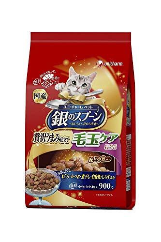 (まとめ買い)ユニ・チャーム 銀のスプーン 贅沢うまみ仕立て 毛玉ケアお魚づくし 900g 猫用 【×4】