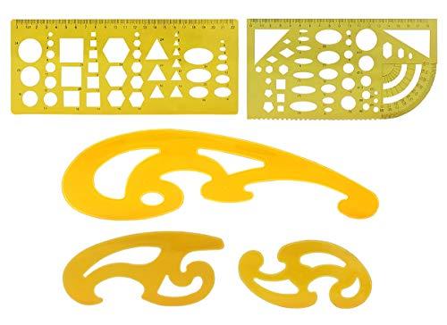 Modello di Disegno in Plastica,5 Pezzi Righello di Modello e Curva Righello per Ufficio e Scuola,Misura Righello Cerchio Ovale Curva Modello Costruzione Cassaforma Stencil Stampino Righelli Geometrico