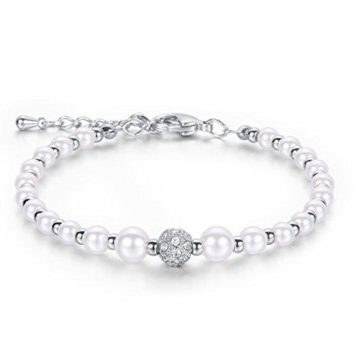 JDGEMSTONE White Pearl Crystal Women Adjustable Bracelet Silver Gold Tone Anniversary Gift Birthday Gift for Girl Gift for Baby Daughter Link Bracelet