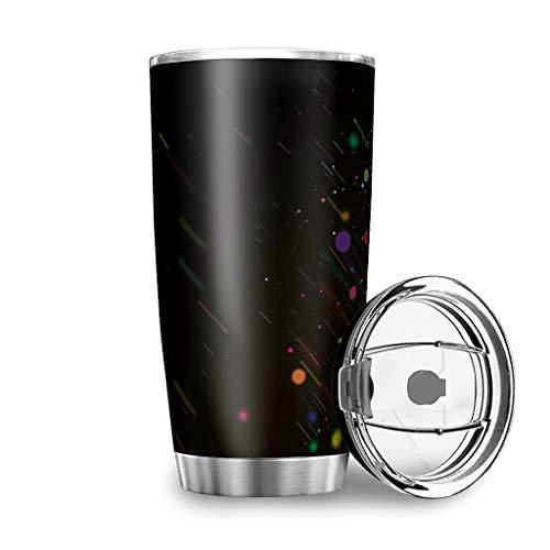 YshChemiy Color Bubbles Vaso con tapa de cierre Vaso de viaje doble pared fácil agarre Copa para gimnasio cerveza blanco 600ml