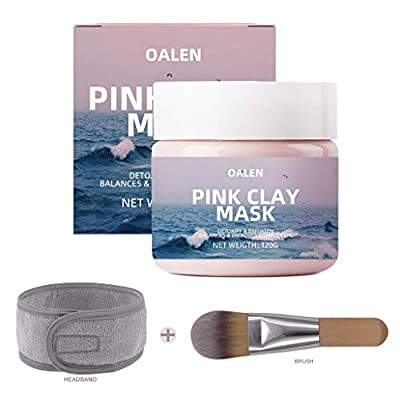 Pink Clay Face Mask, OCHILIMA 100% Natural Kaolin Clay Mask with Brush&Headband, Clay Deep Skin Pore Cleansing, Hydrating, Tightens Pore, Acne Recovery Blackhead,Purify & Brighten Your Skin Face Masks