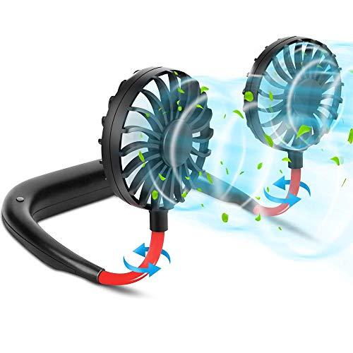 YMXW - Ventilador de cuello recargable con USB portátil, ventilador deportivo colgante con 3 velocidades ajustable 360 ° de rotación para viaje, deporte, camping, oficina (negro)