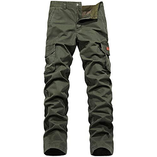 nobranded Pantalon pour Hommes régulier Couleur Unie lâche Ceinture Poche armée Combat Travail réglable Cheville Ouverture Pantalon