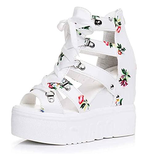 Mikowoo Sandalias De Cuña para Mujer Plataforma De Verano Calzado De Tacón Alto Zapatos Punta Abierta Fiesta Vacaciones Casual Zapatos con Cordones Bohemias Tacones Sandalias,Blanco,42
