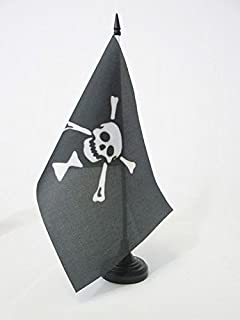 AZ FLAG Bandiera da Tavolo Pirata Emanuel Wynne 21x14cm Teschio 14 x 21 cm Piccola BANDIERINA dei Pirati