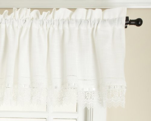 Style Master Renaissance Home Fashion Sophia Valance with Macrame Band, Ivory, 58-Inch by 14-Inch
