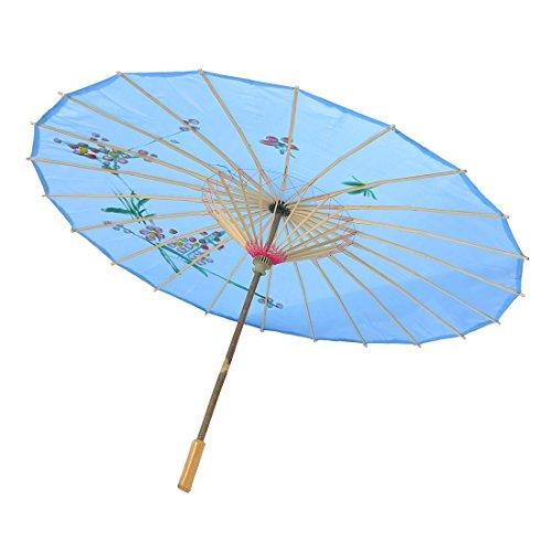 Paraguas de China - SODIAL(R) Azul Paraguas de danza china de bambu de flores del ciruelo Sombrilla
