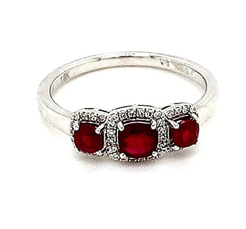 Anillo de compromiso con trilogía de diamantes y rubí engastado en oro blanco de 18 quilates, peso total de 0,83 quilates
