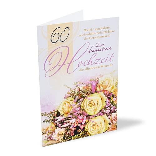 KE Karte zur Diamant-Hochzeit mit Umschlag - 60 Jahre Ehe - Diamanten-Hochzeit - Karte zum 60. Hochzeits-Tag - Klapp-Karte - DIN B6 - Motiv: Rosen