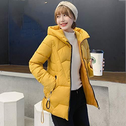 YGCLOTHES - Chaqueta de plumón cálido para mujer, con capucha, corto, suelto, acolchada, gruesa, para invierno, plegable, resistente al viento, algodón, manga larga, casual, 1221SUNY, amarillo, XXXL