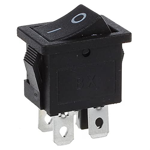 QHMDZ Interruptor basculante 10 PCS X 4 Pin ON-Off 2 Posición DPST Boat Rocker Switches 10A / 125V 6A / 250V AC