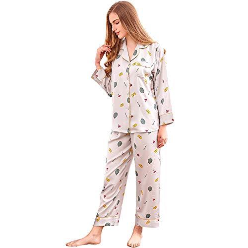 Pijama Para Mujer,Conjunto De Pijamas Para Mujer Conjunto De 2 Piezas De Satén Lindo Estampado De Erizo Conjunto De Pijamas De Manga Larga Conjunto De Pijamas De Seda Para Niñas Conjunto De Pijamas