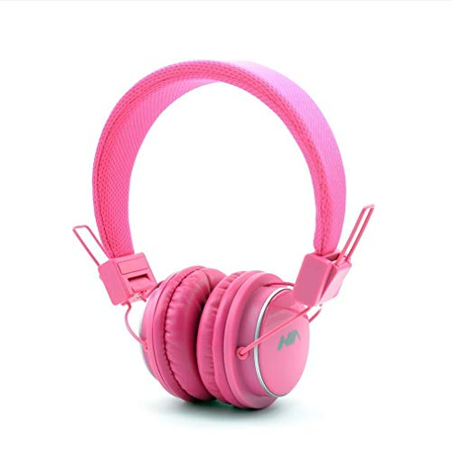 GranVela Q8 Wireless Headphones Lightweight Foldable Steoro Headset with FM Radio,MicroSD/TF Card Mp3 Player and 3.5mm Detacheable AUX Cable,for Ipad,iPhone and Andoid Smartphones.-Pink