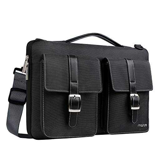 MOSISO 360 Protective Laptop Shoulder Bag Compatible with 2019 MacBook Pro 16 inch A2141, 15-15.6 inch MacBook Pro 2012-2019, Notebook, Polyester Briefcase Sleeve with Organizer Pockets, Black