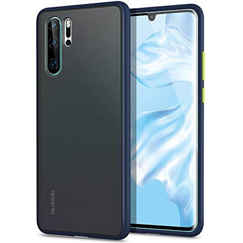 YATWIN Kompatibel mit Huawei P30 Pro Hülle, für Huawei P30 Pro New Edition Hülle, [Shockproof Style] Matte Oberfläche Translucent PC Rückschale, TPU Weiche Rahmen [Niemals Gelbfärbung], Dunkelblau