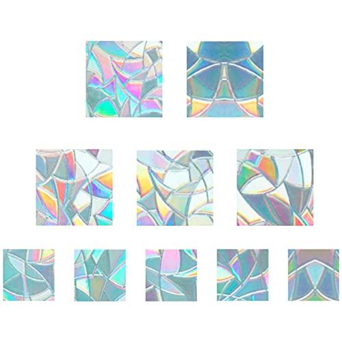 GORGECRAFT 10 Pz Arcobaleno Finestra Si Aggrappa 3D Pellicola Decorativa Finestra Forma Quadrata Anti-Collisione Finestra Adesivi Porta Finestra Aderenza Statica per Cucina Sala da Pranzo Camera