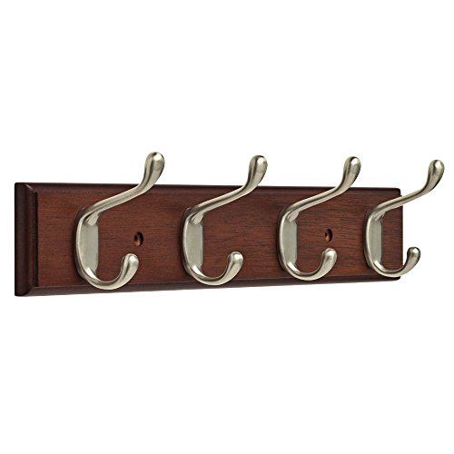 Franklin Brass FBHDCH4-511-R 16 Hook Rail  Rack with 4 Heavy Duty Coat and Hat Hooks in Bark Satin Nickel