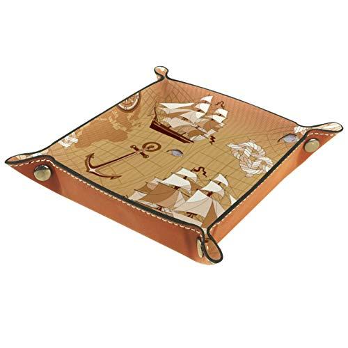 YATELI Caja de Almacenamiento pequeña, Bandeja de Valet para Hombre,Barcos y Anclas,Organizador de Cuero para Llaves de Caja de Monedas