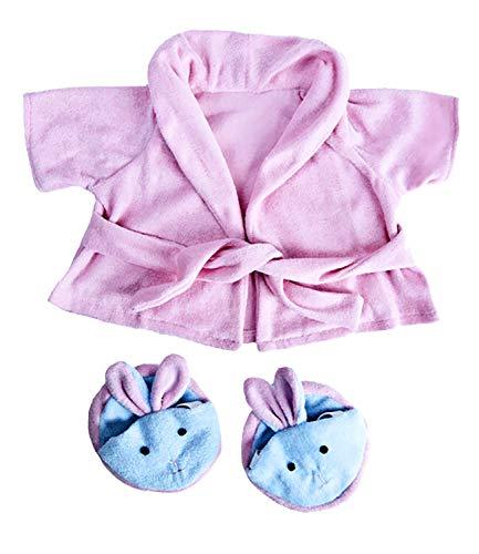 Rosa Bademantel und Hausschuhe Teddybär Outfit / Bekleidung. Passend für 15