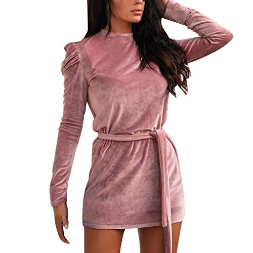 Check Out This Witspace Fashion Women Casual Long Sleeve Stand Bandage Blouse Solid Slim Mini Dress