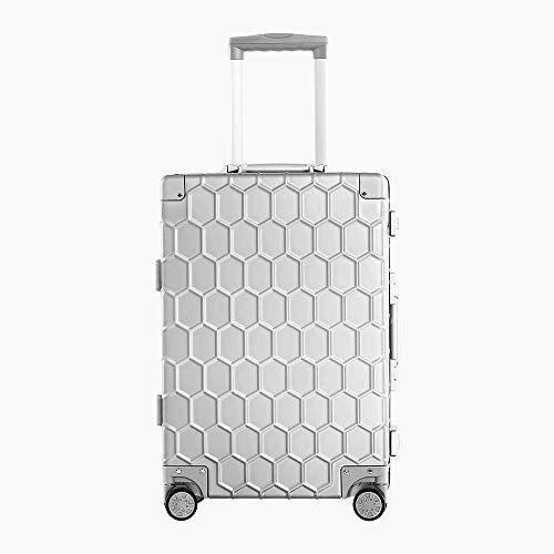 SFBBBO luggage suitcase 100% Aluminum Alloy Luggage Business Travel Lock Cabin Trolley Metal Suitcase Carry on Luggage 25' Silvery