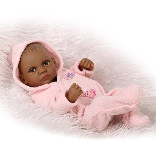 Nicery Peau Reborn Bébé Bain Poupée Indien Noir Style Vinyle Silicone Simulation dur 10inch 26cm Enfant étanche Jouet Fille rose avec Yeux acryliques Baby Doll Cadeau de Noël