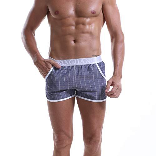 GreatestPAK Herren Boxershorts Baumwolle Kariert Lose Mode Sexy Höschen Komfort Freizeit Kurze Hosen,Dunkelgrau,EU:M(Tag:L)