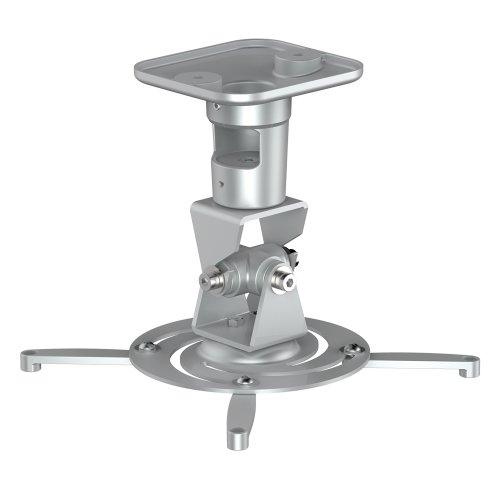 PureMounts PM-SPIDER-PLUS-S Beamer Deckenhalterung, neigbar 25°, drehbar, Deckenabstand: 225mm, Traglast max. 15kg, Lochabstand 180-310mm, silber