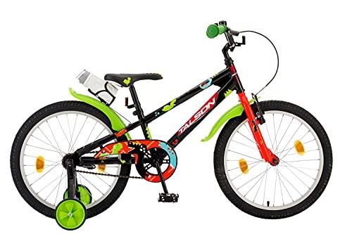 TALSON 20 Zoll Fahrrad ASAF mit Trinkflasche und Stützrädern Schwarz