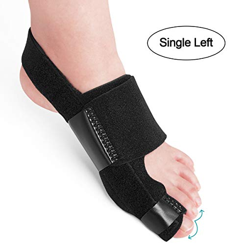 AVIDDA Bunion Corrector and Bunion Relief, Bunion Splint Big Toe Straightener Corrector Foot Pain Relief for Hallux Valgus Bunion Support Brace for Men Women (One Size) Black Single Left