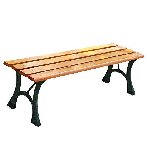 Meubles de terrasse de banc de jardin extérieur, sièges à lattes en bois massif résistants aux intempéries, tabouret de repos de parc de couloir de cadre en fonte antirouille, utilisé dans l'hôpital