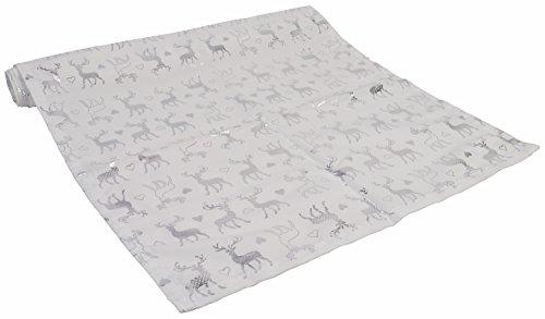 CHICCIE Tovaglia Renna – Argento Bianco – 160 cm x 40 cm – Tovaglia
