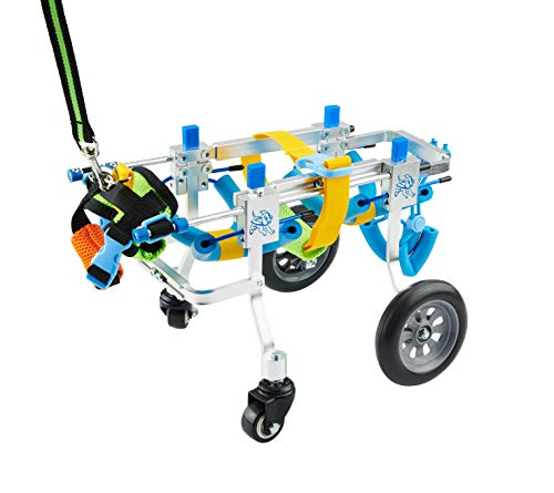 U/D HeoBam 4 Wheel Adjustable Dog Wheelchair,Detachable Dog Wheelchair,Pet Rehabilitation Cart, Pet Wheelchair,Lightweight Aluminum Dog Wheelchair (XXS)