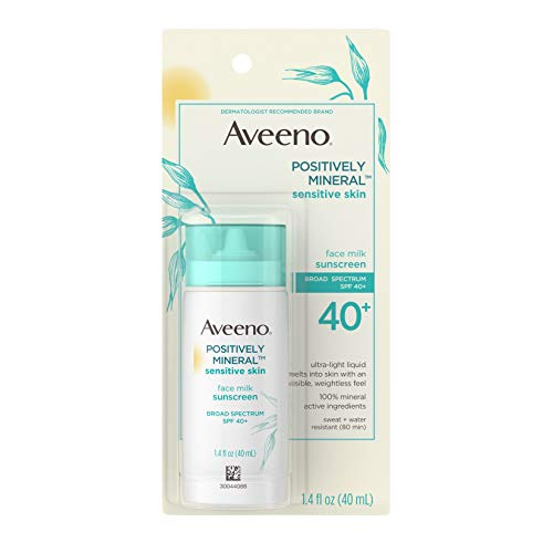Aveeno Positively Mineral Sensitive Skin SPF 40+ Sunscreen Face Milk with Zinc Oxide & Titanium Dioxide, Invisible Oil-Free Liquid Facial Sunscreen, Paraben- & Phthalate-Free, 1.4 fl. oz