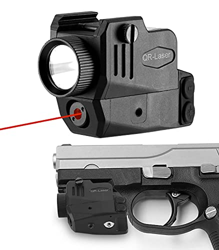 QR-Laser Red Laser Sight Gun Light Combo 500 Lumens Tactical Flashlight Rechargeable with Strobe Function for Pistol Handgun Glock Rifles Dot with Picatinny Rail Mount