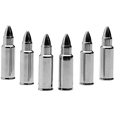 Bettli Stainless Steel Bullet Shaped Whiskey Stones Set of 6 - Premium Chilling Rocks - Ice Stones With Tongs And Freezer Pouch, Great Gift Idea for Whiskey Lovers (Bullet)