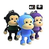 1 PCS Monkey Keychain with LED Flashlight and Sound Effects 3D Cute Cartoon Key Holder For Children Designer Key Ring Random Color