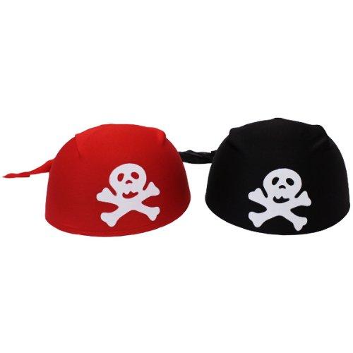 PARTY DISCOUNT NEU Hut Piratenkappe / Bandana, rot oder schwarz